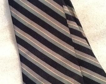 Vintage Silk Tie Diagonal Striped Tie Shades of Blue