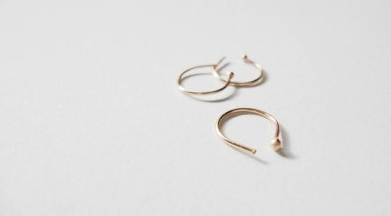 14k solid YELLOW gold   nose ring   22g   Real + fake   tragus   hoop
