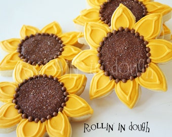 Sunflower Cookies, Sunflowers, Sunflower Cookie Favors, Fall Flowers - 1 Dozen