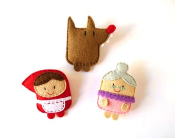Little Red Riding Hood cute felt brooches set, fairy tale characters, little doll plush brooch, gift idea for girls