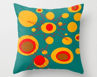 Modern Outdoor Pillow, Outdoor Pillow, Turquoise Outdoor Pillow, Atomic Outdoor Pillow, Retro Outdoor Pillow, Outdoor Throw Pillow