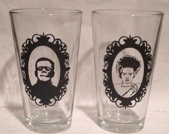 Frankenstein and Bride pub glasses