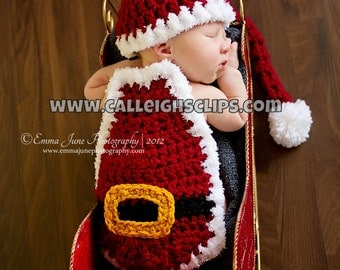 Instant Download Crochet Pattern - No 28 - Santa Suit- Cuddle Critter Cape Set  - Newborn Photography Prop