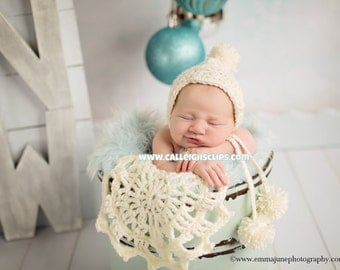 The Serene Snow pixie Bonnet and Doily Newborn Photography Prop