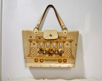 Vintage 1960's Enid Collins San Francisco Cable Car Cream Canvas Tote / Purse w /Amber Jewels Purse