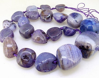 Knotted Strand  Random Nugget Purple Agate  9mm-20mm  Gemstone Beads Full Strand  18""