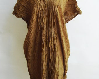 D3, Free Size Free Spirit Yellow Brown Cotton Dress