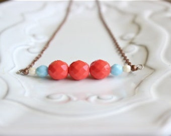 Coral and Teal beaded necklace, statement necklace, bridesmaids necklace