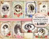 Vintage Women Framed in Flowers 3,5x5 inch Shabby Chic Jewelry holders Invitations Scrapbooking craft supply (389) set of 4 sheets