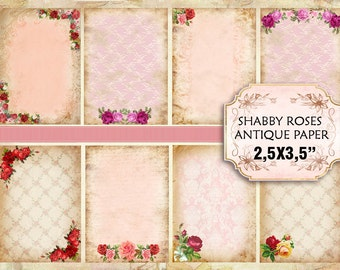 Old Vintage paper with roses Shabby chic paper Scrapbook Decoupage 3.5x2.5 inch (380)