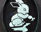 Carved Glass Bunny Ornament
