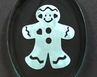 Carved Glass Gingerbread Man Ornament