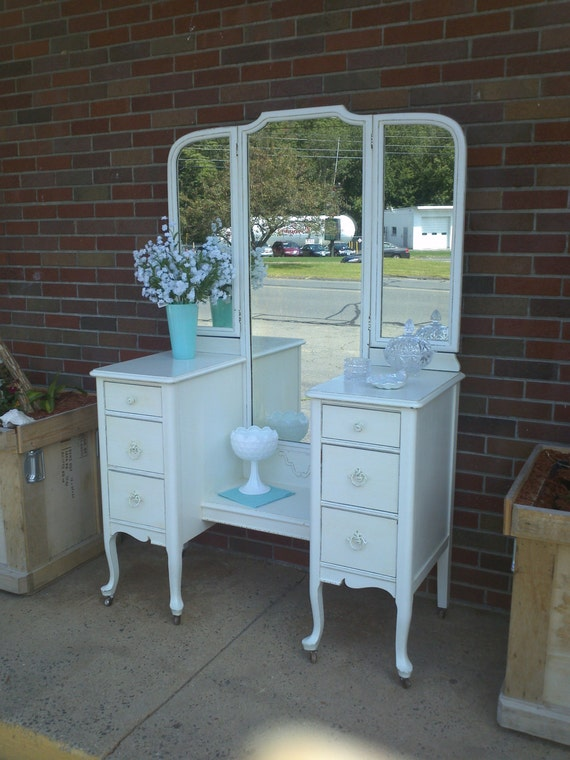 Circa 20s Antique White Vanity Dressing Table Salvaged