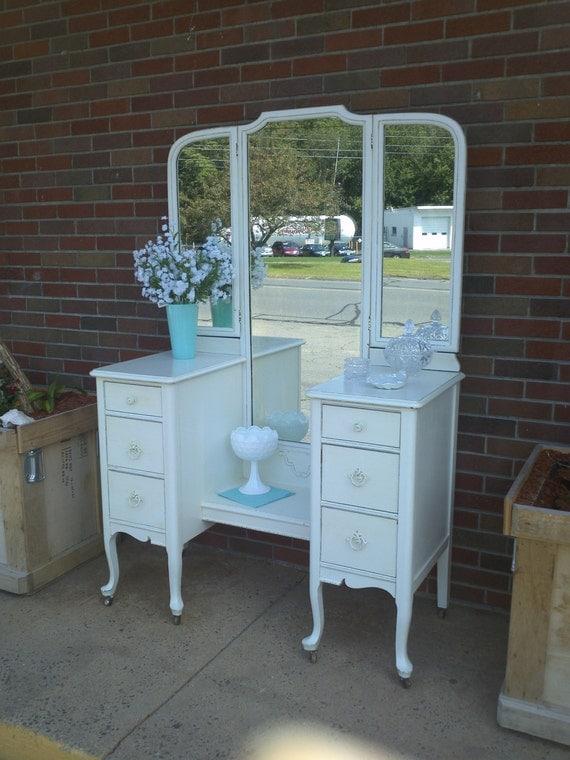 Circa 20u0026#39;s Antique White Vanity Dressing Table Salvaged