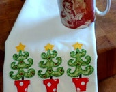 Appliqued Christmas Tree Dish Towel