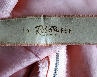 1960 Pink Linen Dress by Roberta size 12