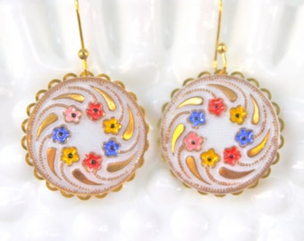 White Gold Round Scalloped Gold Etched Red Blue Pink Floral Yellow Gold Scalloped Drop Dangle Earrings - Mosaic, Wedding, Bridal,Bridesmaid