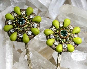 CLEARANCE  Jeweled Hair Clips Bobby Pins with Rhinestones and Beads Hair Jewelry Boho Glam Encrustled Hair Jewlery - Guacamole Green