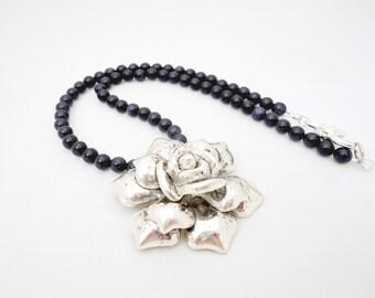 Blue Golden Sand Necklace with Big Rose Pendant, Dark Blue Necklace, Gemstone Necklace, UK Seller