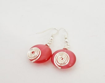 Wire Wrapped Earrings,  Pink Earrings, Handmade Jewelry, UK Seller