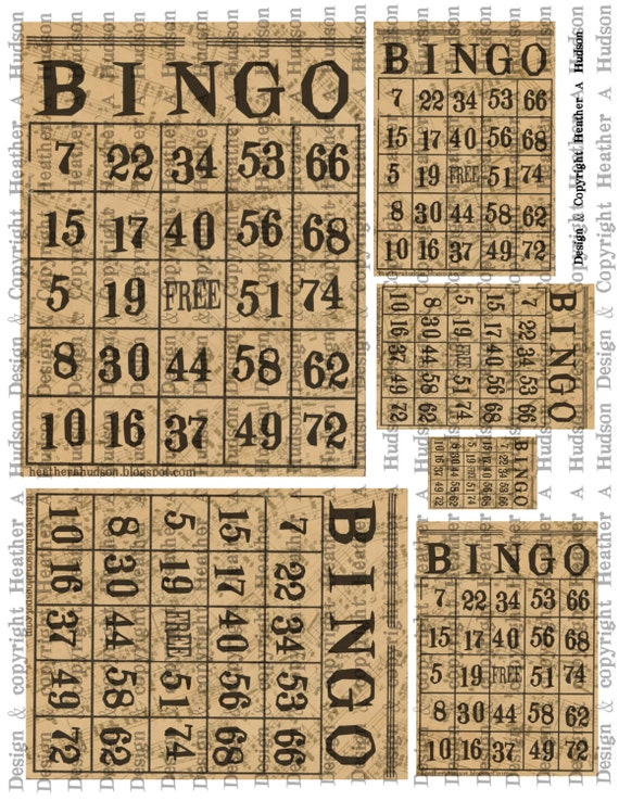 Vintage Natural Bingo cards Music Digital Collage sheet Printable