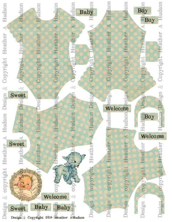 Vintage Baby Blue  Boy Onesie Set Digital Collage sheet Printable