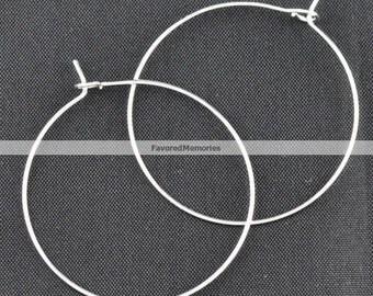 100 Silver Plated Wine Charm/Earwire Hoop Rings - 30mm  -20 Gauge