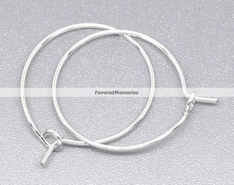 200pcs. Silver Plated Wine Charm/Earwire Hoop Rings - 20mm - 20 Gauge