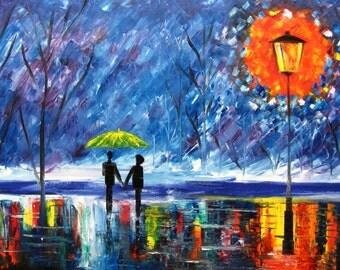 couple paintings love rain original oil painting rainy rain in the park 24x36 in. artist Mariana Stauffer impressionist palette knife