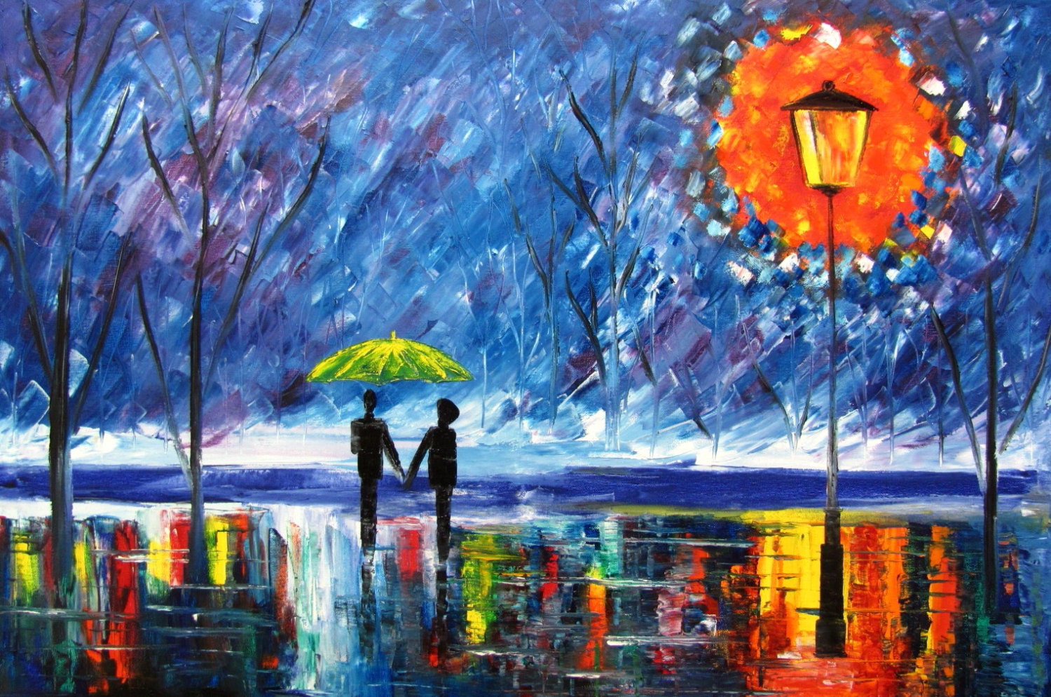 couple paintings love rain original oil painting rainy rain in