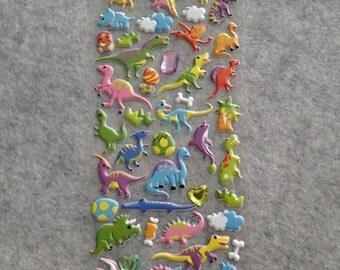 Mixed Cute Puffy Rhinestones Assorted Dinosaurs Stickers
