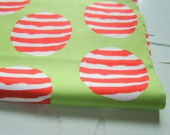 Maisy Counts Fabric, Lucy Cousins Andover Fabrics, Striped Balls on Green Fabric, Last Remnant Piece