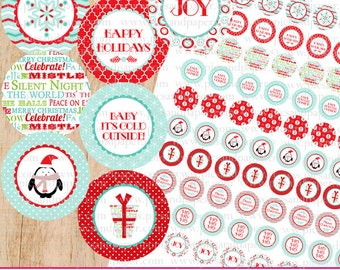 Christmas Hershey's Kiss Stickers- Label for kisses- just print and cut, DIY, Printable file