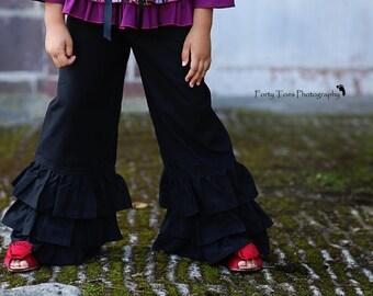 Girls Black Triple Ruffle Wide Leg Boutique Pants