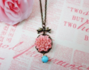 Pink Dahlia with pastel blue glass jewel Necklace.  Gift for her. Birthday.