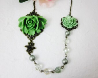 Green Roses Necklace.  Lovely gift for her. Anniversary, Wedding, Birthday. Maid of Honor