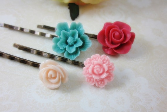 Flower Blossom Hairpins Set IV. Set of 4 Floral Hairpins. Gift for her. Birthday, Bridesmaids, Christmas.