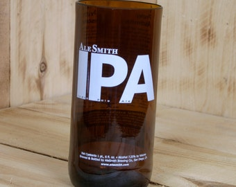 Ale Smith India Pale Ale - IPA 16 ounce drinking glass / tumbler made from a repurposed beer bottle