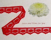 Red Lace Trim 15 Yards Scalloped Floral 5/8 inch wide Lot C15A Added Items Ship No Charge