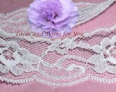 White Lace Trim 12 Yards Delicate Roses 1-1/4 inch wide Lot C10 Added Items Ship No Charge