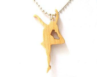 Dancer Ballerina Majorette Jewelry Maple Hand Cut Scroll Saw Wood Pendant