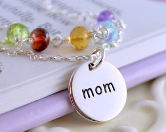 Family Necklace for Mom, Sterling Silver Charm, Mother in Law Gift, Custom, Genuine Birthstone Jewelry, Wire Wrapped Gemstones