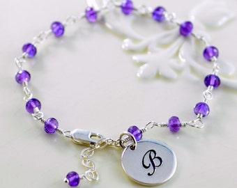 Birthstone Bracelet, Sterling Silver Initial Charm, Custom Jewelry, Girls, Genuine Gemstone, Personalized
