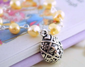 Spring Easter Necklace, Child Children Girl, Soft Yellow Freshwater Pearls, Sterling Silver, Bunny Rabbit Egg Pendant