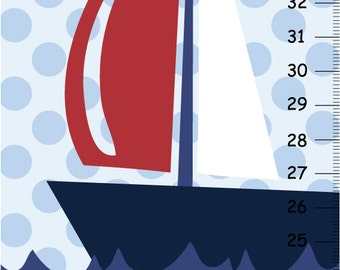Canvas growth chart Nautical Boys Bedroom Baby Nursery Wall Art