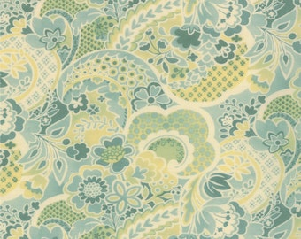 Mimi - Flower Collage in Aqua by Chez Moi for Moda Fabrics