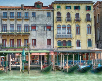 Grand Canal, Venice, Italy, Gondolas, Gondola, Panoramic, Canvas, 16x32, 16x48