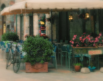 Italy Art, Bicycle Cafe, Italy, Fine Art Photography, fPOE, Green, Blue, Grass, Bicycle, fPOE, Red Flowers, (6 Sizes)