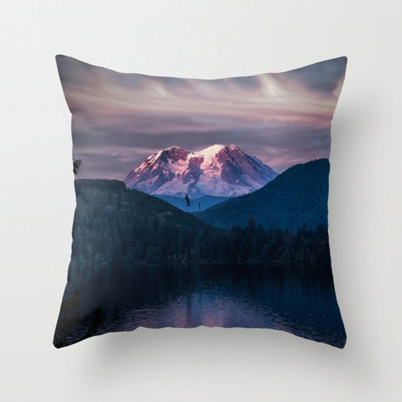 Items similar to Pillow Cover, Scenic, Mt. Rainier, Mineral Lake, Decorative Throw Pillow Cover ...