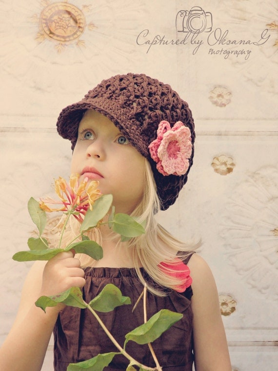5T to Preteen Girl Hat, Girl Newsboy Cap, Girl Visor Hat, Coffee Bean Brown, Rose Pink, Pink Flower. Photo Props. Cute with any Outfit.